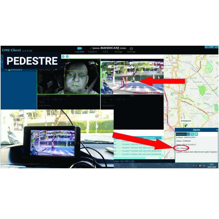 Sistema ADAS em funcionamento com Fadiga e DVR
